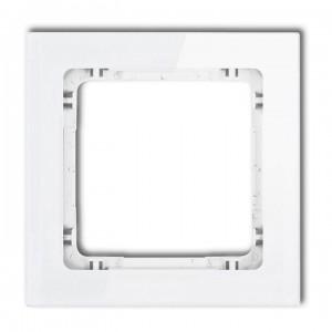 Karlik Deco 0-0-DRS-1 - Ramka pojedyncza DECO Efekt Szkła - Podstawa w kolorze Białym - Plexi Białe - Podgląd zdjęcia producenta