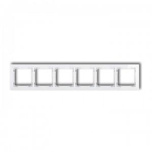 Karlik Deco 0-0-DRS-6 - Ramka sześciokrotna DECO Efekt Szkła - Podstawa w kolorze Białym - Plexi Białe - Podgląd zdjęcia producenta