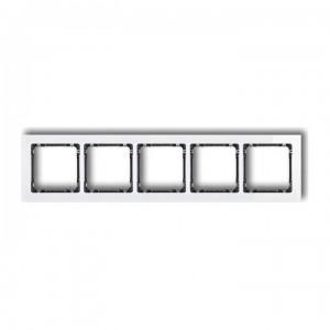 Karlik Deco 0-11-DRS-5 - Ramka pięciokrotna DECO Efekt Szkła - Podstawa w kolorze Grafitowym - Plexi Białe - Podgląd zdjęcia producenta