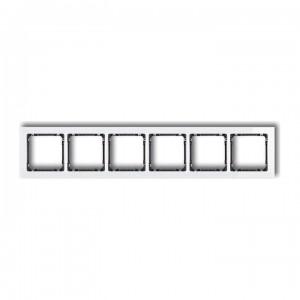 Karlik Deco 0-11-DRS-6 - Ramka sześciokrotna DECO Efekt Szkła - Podstawa w kolorze Grafitowym - Plexi Białe - Podgląd zdjęcia producenta