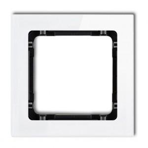 Karlik Deco 0-12-DRS-1 - Ramka pojedyncza DECO Efekt Szkła - Podstawa w kolorze Czarnym - Plexi Białe - Podgląd zdjęcia producenta