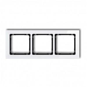 Karlik Deco 0-12-DRS-3 - Ramka potrójna DECO Efekt Szkła - Podstawa w kolorze Czarnym - Plexi Białe - Podgląd zdjęcia producenta