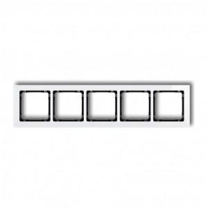 Karlik Deco 0-12-DRS-5 - Ramka pięciokrotna DECO Efekt Szkła - Podstawa w kolorze Czarnym - Plexi Białe - Podgląd zdjęcia producenta