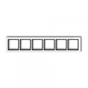 Karlik Deco 0-12-DRS-6 - Ramka sześciokrotna DECO Efekt Szkła - Podstawa w kolorze Czarnym - Plexi Białe - Podgląd zdjęcia producenta