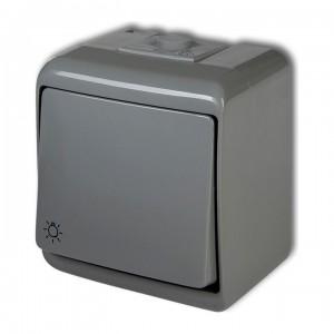 Karlik Junior 10WHE-5L - Przycisk zwierny z piktogramem światła hermetyczny z podświetleniem IP56 - Popielaty - Podgląd zdjęcia producenta