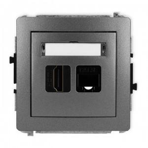 Karlik Deco 11DGHK - Gniazdo HDMI + Gniazdo komputerowe 1x RJ45 kat.5e - Grafitowy - Podgląd zdjęcia producenta