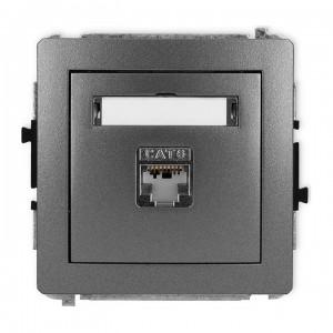 Karlik Deco 11DGK-1e - Gniazdo komputerowe pojedyncze 1x RJ45 kat.5e, ekranowane, 8 stykowe - Grafitowy - Podgląd zdjęcia producenta