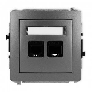 Karlik Deco 11DGTK - Gniazdo telefoniczne 1x RJ11 + Gniazdo komputerowe 1x RJ45 kat.5e - Grafitowy - Podgląd zdjęcia producenta