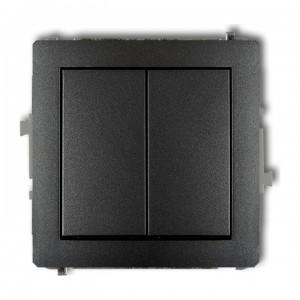 Karlik Deco 11DWP-44.1 - Przycisk zwierny podwójny 10A, wspólne zasilanie, zaciski śrubowe - Grafitowy - Podgląd zdjęcia producenta
