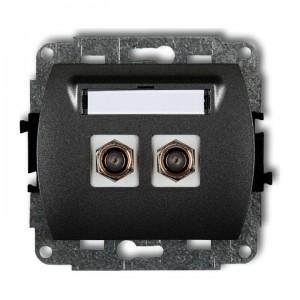 Karlik Trend 11GF-2 - Gniazdo antenowe SAT podwójne typu F, gniazdo niklowane - Grafitowy - Podgląd zdjęcia producenta