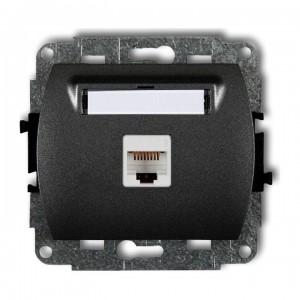 Karlik Trend 11GK-1e - Gniazdo komputerowe pojedyncze 1x RJ45 kat.5e, ekranowane, 8 stykowe - Grafitowy - Podgląd zdjęcia producenta
