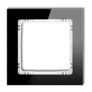 Karlik Deco 12-0-DRS-1 - Ramka pojedyncza DECO Efekt Szkła - Podstawa w kolorze Białym - Plexi Czarne - Podgląd zdjęcia producenta