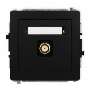 Karlik Deco 12DGF-1.1 - Gniazdo antenowe SAT pojedyncze typu F, gniazdo pozłacane - Czarny Mat - Podgląd zdjęcia producenta