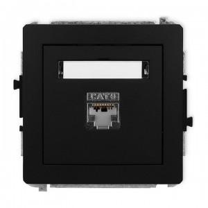 Karlik Deco 12DGK-1e - Gniazdo komputerowe pojedyncze 1x RJ45 kat.5e, ekranowane, 8 stykowe - Czarny Mat - Podgląd zdjęcia producenta