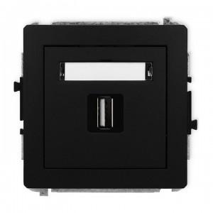 Karlik Deco 12DGUSB-1 - Gniazdo USB pojedyncze typu A-A, wersja 2.0 - Czarny Mat - Podgląd zdjęcia producenta