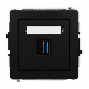 Karlik Deco 12DGUSB-5 - Gniazdo USB pojedyncze typu A-A, wersja 3.0 - Czarny Mat - Podgląd zdjęcia producenta