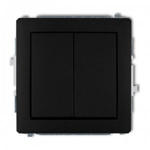 Karlik Deco 12DWP-44.1 - Przycisk zwierny podwójny 10A, wspólne zasilanie, zaciski śrubowe - Czarny Mat - Podgląd zdjęcia producenta