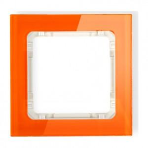 Karlik Deco 13-1-DRS-1 - Ramka pojedyncza DECO Efekt Szkła - Podstawa w kolorze Beżowym - Plexi Pomarańczowe - Podgląd zdjęcia producenta