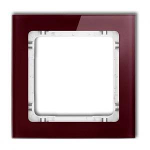 Karlik Deco 14-0-DRS-1 - Ramka pojedyncza DECO Efekt Szkła - Podstawa w kolorze Białym - Plexi Bordowe - Podgląd zdjęcia producenta