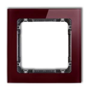 Karlik Deco 14-11-DRS-1 - Ramka pojedyncza DECO Efekt Szkła - Podstawa w kolorze Grafitowym - Plexi Bordowe - Podgląd zdjęcia producenta