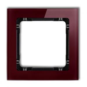 Karlik Deco 14-12-DRS-1 - Ramka pojedyncza DECO Efekt Szkła - Podstawa w kolorze Czarnym - Plexi Bordowe - Podgląd zdjęcia producenta