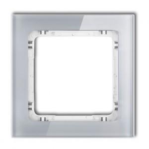 Karlik Deco 15-0-DRS-1 - Ramka pojedyncza DECO Efekt Szkła - Podstawa w kolorze Białym - Plexi Szare - Podgląd zdjęcia producenta