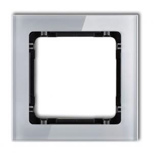 Karlik Deco 15-12-DRS-1 - Ramka pojedyncza DECO Efekt Szkła - Podstawa w kolorze Czarnym - Plexi Szare - Podgląd zdjęcia producenta