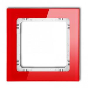 Karlik Deco 17-0-DRS-1 - Ramka pojedyncza DECO Efekt Szkła - Podstawa w kolorze Białym - Plexi Czerwone - Podgląd zdjęcia producenta