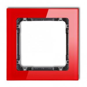 Karlik Deco 17-11-DRS-1 - Ramka pojedyncza DECO Efekt Szkła - Podstawa w kolorze Grafitowym - Plexi Czerwone - Podgląd zdjęcia producenta