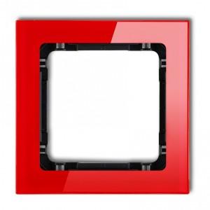 Karlik Deco 17-12-DRS-1 - Ramka pojedyncza DECO Efekt Szkła - Podstawa w kolorze Czarnym - Plexi Czerwone - Podgląd zdjęcia producenta
