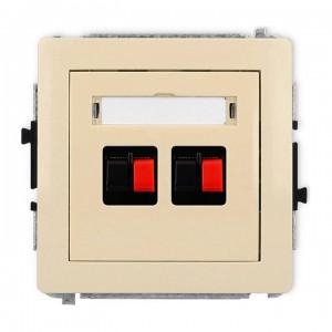 Karlik Deco 1DGG-2 - Gniazdo głośnikowe podwójne, przyłącze 2,5mm2 - Beżowy - Podgląd zdjęcia producenta