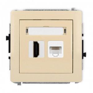 Karlik Deco 1DGHK - Gniazdo HDMI + Gniazdo komputerowe 1x RJ45 kat.5e - Beżowy - Podgląd zdjęcia producenta