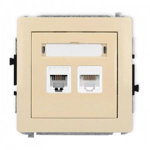 Karlik Deco 1DGTK - Gniazdo telefoniczne 1x RJ11 + Gniazdo komputerowe 1x RJ45 kat.5e - Beżowy - Podgląd zdjęcia producenta