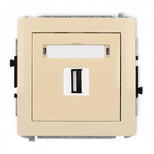 Karlik Deco 1DGUSB-1 - Gniazdo USB pojedyncze typu A-A, wersja 2.0 - Beżowy - Podgląd zdjęcia producenta
