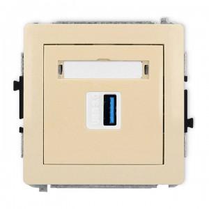 Karlik Deco 1DGUSB-5 - Gniazdo USB pojedyncze typu A-A, wersja 3.0 - Beżowy - Podgląd zdjęcia producenta