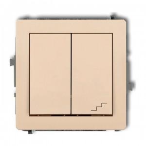 Karlik Deco 1DWP-10.1 - Łącznik pojedynczy z łącznikiem schodowym 10A, wspólne zasilanie, zaciski śrubowe - Beżowy - Podgląd zdjęcia producenta