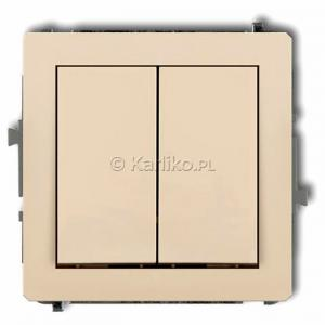 Karlik Deco 1DWP-44.1 - Przycisk zwierny podwójny 10A, wspólne zasilanie, zaciski śrubowe - Beżowy - Podgląd zdjęcia producenta