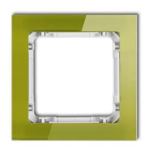 Karlik Deco 2-0-DRS-1 - Ramka pojedyncza DECO Efekt Szkła - Podstawa w kolorze Białym - Plexi Zielone - Podgląd zdjęcia producenta