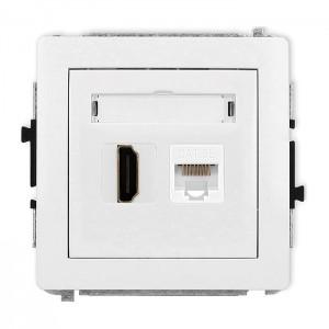 Karlik Deco 25DGHK - Gniazdo HDMI + Gniazdo komputerowe 1x RJ45 kat.5e - Biały Mat - Podgląd zdjęcia producenta