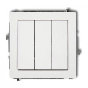 Karlik Deco 25DWP-7 - Łącznik potrójny 10A, zaciski śrubowe - Biały Mat - Podgląd zdjęcia producenta