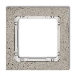 Karlik Deco 27-0-DRB-1 - Ramka pojedyncza DECO Beton - Podstawa w kolorze Białym - Beton Jasny Szary - Podgląd zdjęcia producenta