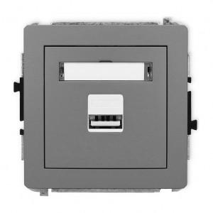 Karlik Deco 27DCUSB-1 - Ładowarka USB, napięcie 5V, prąd 1A - Szary Mat - Podgląd zdjęcia producenta