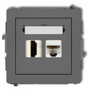 Karlik Deco 27DGHK - Gniazdo HDMI + Gniazdo komputerowe 1x RJ45 kat.5e - Szary Mat - Podgląd zdjęcia producenta