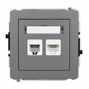 Karlik Deco 27DGTK - Gniazdo telefoniczne 1x RJ11 + Gniazdo komputerowe 1x RJ45 kat.5e - Szary Mat - Podgląd zdjęcia producenta