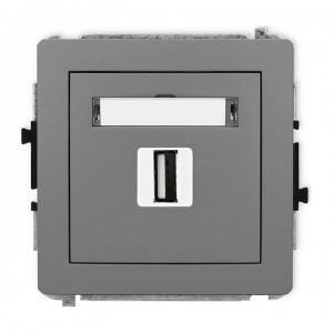 Karlik Deco 27DGUSB-1 - Gniazdo USB pojedyncze typu A-A, wersja 2.0 - Szary Mat - Podgląd zdjęcia producenta