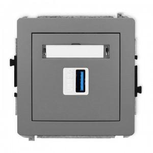 Karlik Deco 27DGUSB-5 - Gniazdo USB pojedyncze typu A-A, wersja 3.0 - Szary Mat - Podgląd zdjęcia producenta