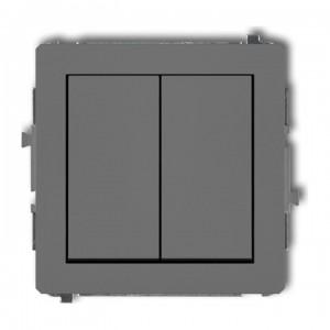 Karlik Deco 27DWP-44.1 - Przycisk zwierny podwójny 10A, wspólne zasilanie, zaciski śrubowe - Szary Mat - Podgląd zdjęcia producenta