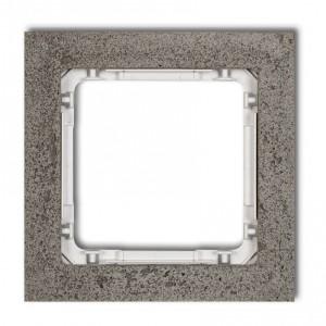 Karlik Deco 28-0-DRB-1 - Ramka pojedyncza DECO Beton - Podstawa w kolorze Białym - Beton Ciemny Szary - Podgląd zdjęcia producenta