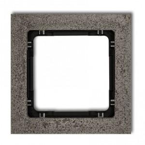 Karlik Deco 28-12-DRB-1 - Ramka pojedyncza DECO Beton - Podstawa w kolorze Czarnym - Beton Ciemny Szary - Podgląd zdjęcia producenta
