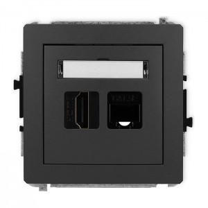 Karlik Deco 28DGHK - Gniazdo HDMI + Gniazdo komputerowe 1x RJ45 kat.5e - Grafitowy Mat - Podgląd zdjęcia producenta